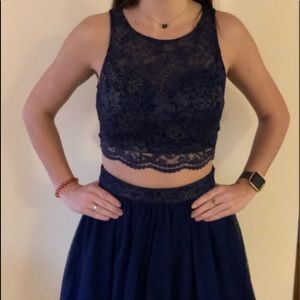 Formal navy two piece dress